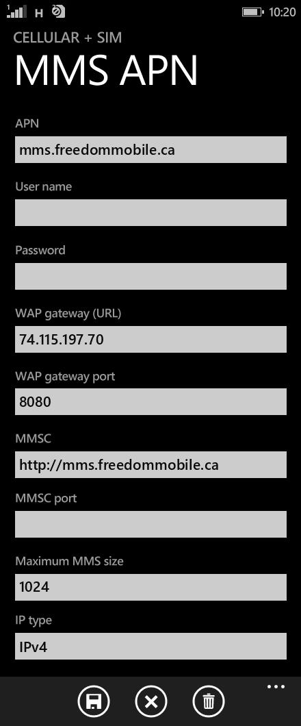 Freedom Mobile MMS APN settings for Windows Phone 8.1 screenshot