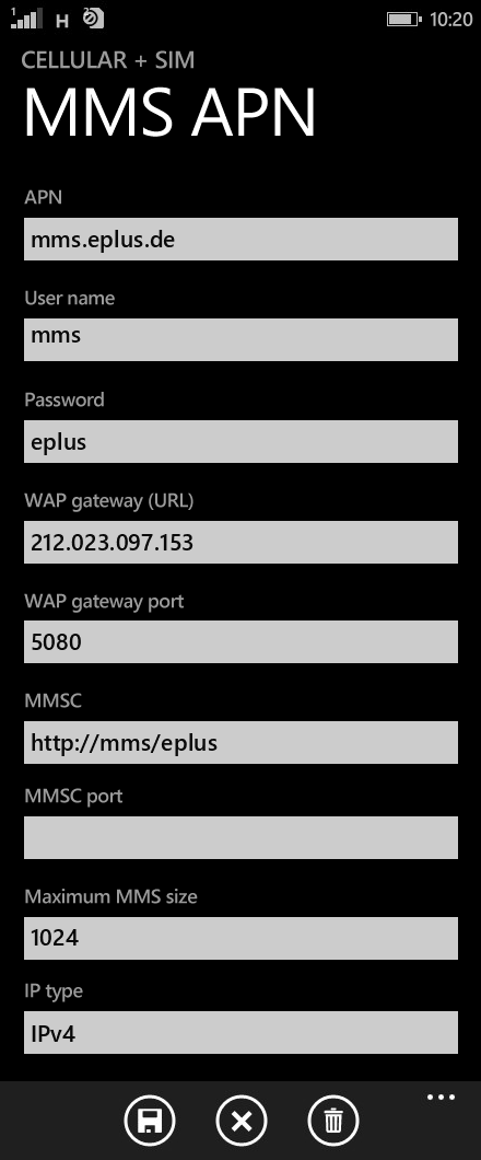 E-plus MMS APN settings for Windows Phone 8.1 screenshot
