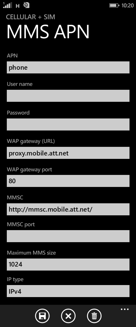 AT&T  APN settings for Windows Phone 8.1 screenshot