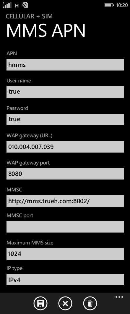 TrueMove H MMS APN settings for Windows Phone 8.1 screenshot