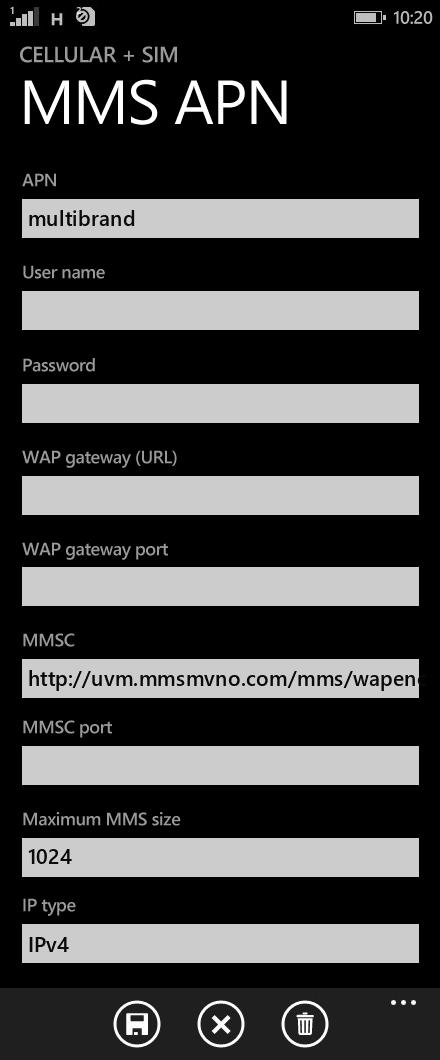 Univision Mobile  APN settings for Windows Phone 8.1 screenshot
