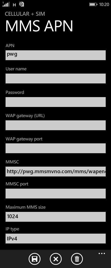 Zing PCS  APN settings for Windows Phone 8.1 screenshot