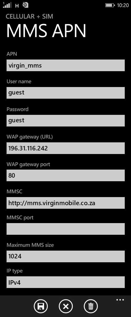 Virgin Mobile MMS APN settings for Windows Phone 8.1 screenshot